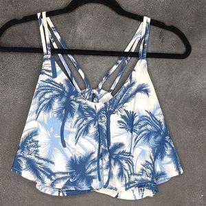 NWT Fashion Nova Blue Bayou Crop Flounce Tank Top